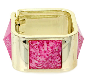 Pink Spotted Pyramid Hinged Bracelet