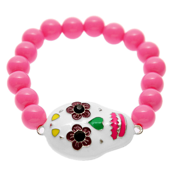 Pink Day of Dead Skull Mask Stretch Bracelet