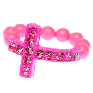 Pink Adjustable Rhinestone Mini Cross Ring