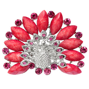 Pink Rhinestone Peacock Stretch Ring