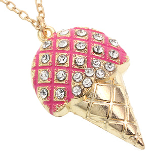 Pink Rhinestone Ice Cream Cone Charm Necklace