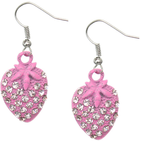 Pink Strawberry Mini Rhinestone Earrings