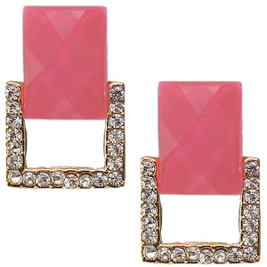 Pink Square Gemstone Post Earrings