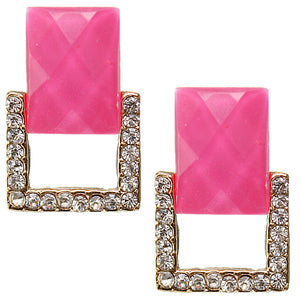 Hot Pink Square Gemstone Post Earrings