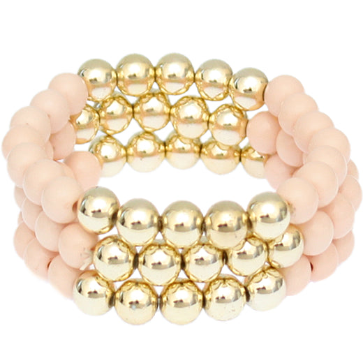 Light Pink Beaded Round Ball Stretch Bracelets