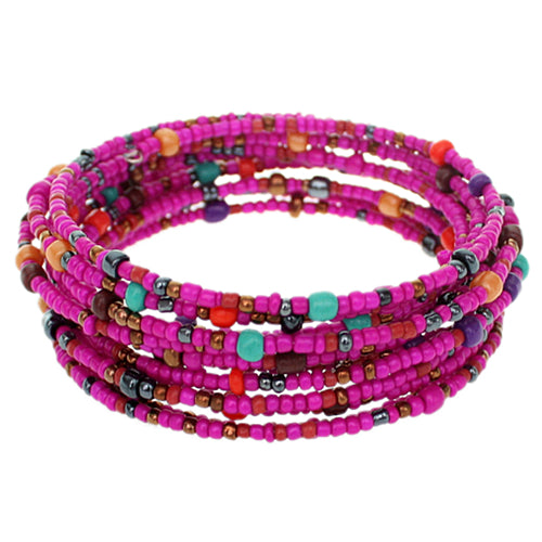 Pink Sequin Beaded Coil Wrap Bracelet