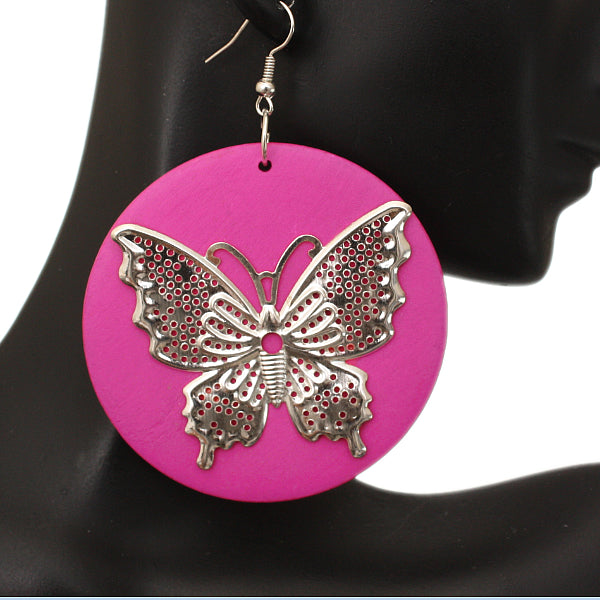 Pink Silver Wooden Butterfly Dangle Earrings