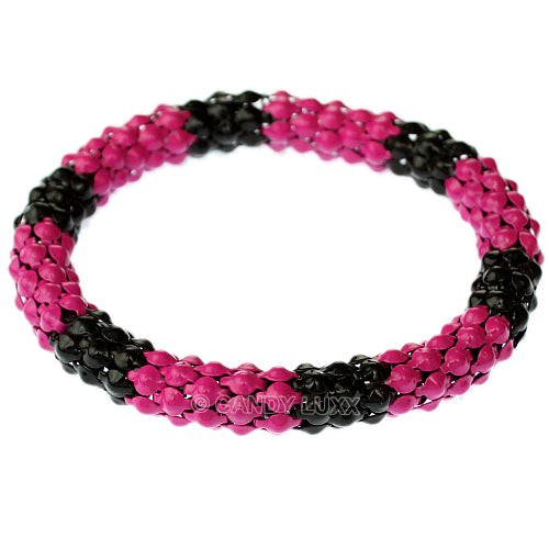 Pink Black Connected Stretch Bracelet