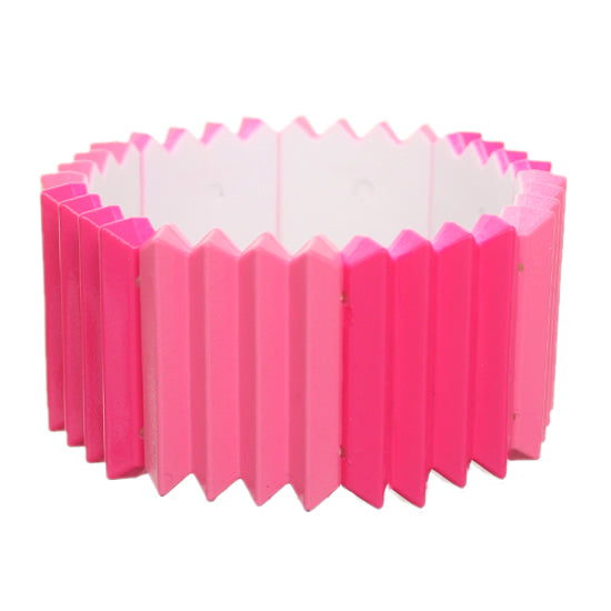Pink Two Tone Pleated Ruffle Stretch Bracelet