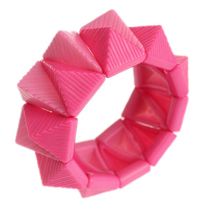 Pink Two Tone Triangle Pyramid Stretch Bracelet