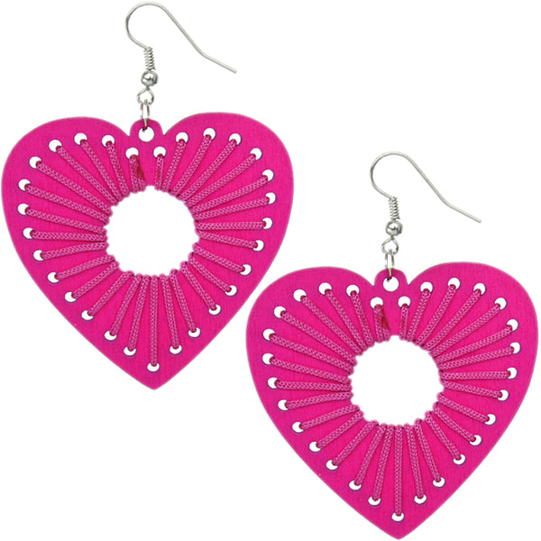 Pink Woven Heart Earrings
