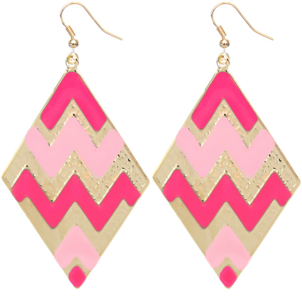 Pink chevron earrings