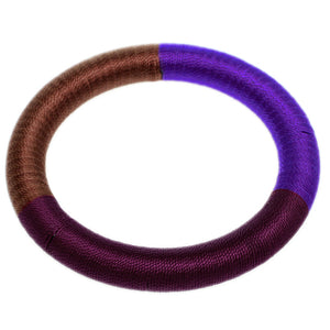 Purple Brown Fabric Wrap Bangle Bracelet