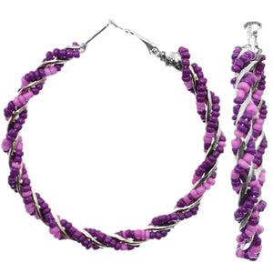 Purple Intertwined Beaded Hoop Earrings