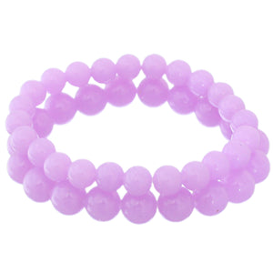 Purple 2-Piece Beaded Stretch Bracelets