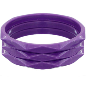 Purple 3-Piece Flat Design Stacked Bracelets