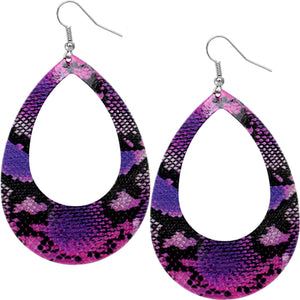 Purple Snakeskin Teardrop Earrings