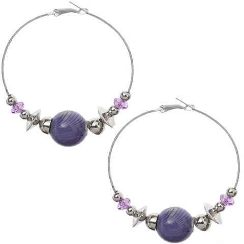 Purple Beaded Medium Hoop Earrings