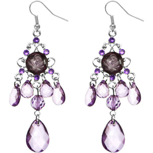Purple Elegant Beaded Chandelier Dangle Earrings