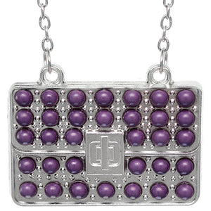 Purple Beaded Charm Handbag Chain Necklace