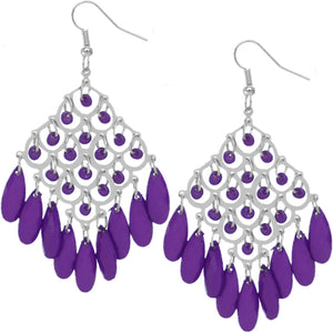 Purple Dangle Bead Chandelier Earrings