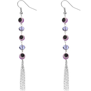 Purple Beaded Evil Eye Chain Earrings
