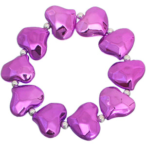 Purple Faceted Heart Stretch Bracelet