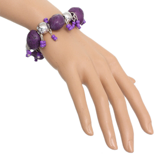 Purple Beaded Faux Stone Stretch Bracelet