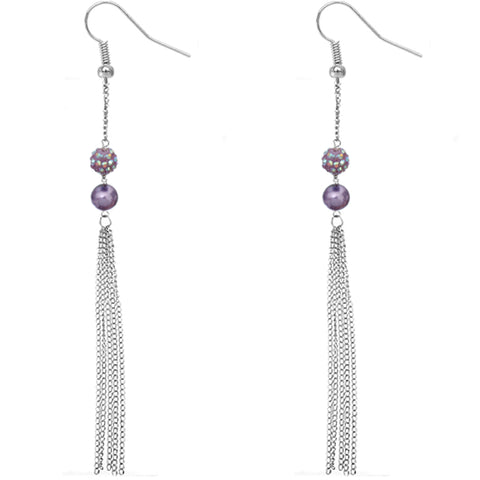 Purple Beaded Fireball Chain Earrings