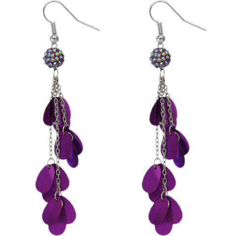 Purple Beaded Fireball Confetti Chain Earrings