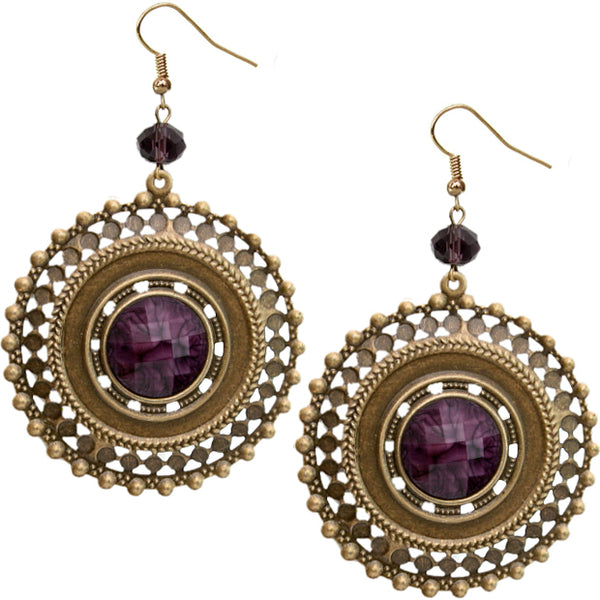 Purple Round Bead Earrings