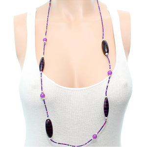 Purple Wooden Sequin Striped Necklace Set