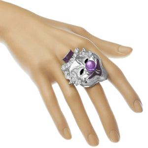 Purple Bead Rhinestone Clown Adjustable Ring