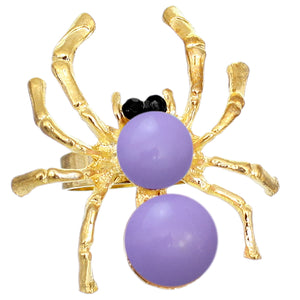 Purple Beaded Spider Adjustable Ring