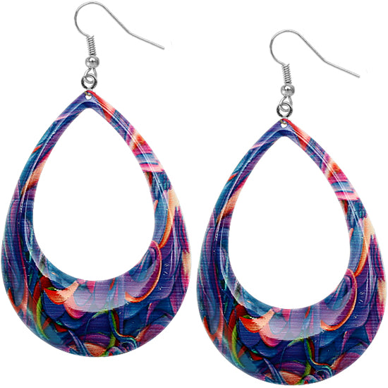 Purple swirl artsy earrings