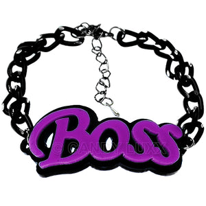 Purple Boss Letter Link Chain Bracelet