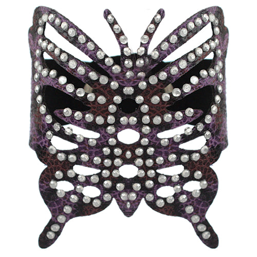 Purple Cheetah Butterfly Snap Bracelet