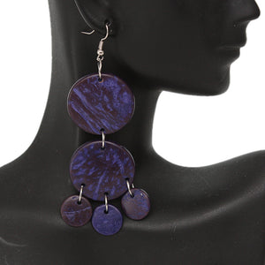 Purple Coconut Round Disc Earrings