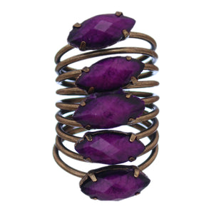 Purple Beaded Coil Wrap Ring