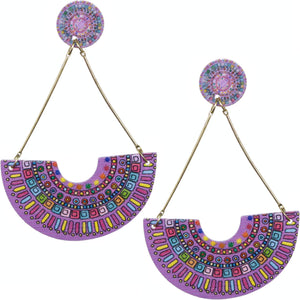 Purple Crescent Triangular Shape Post Earrings
