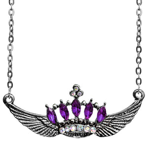 Purple Crown Double Wing Chain Necklace