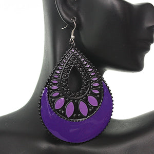 Purple Black Open Teardrop Earrings