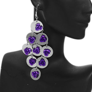 Purple Flat Disc Floral Dangle Earrings