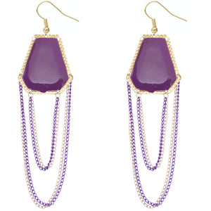 Purple Double Chain Geometric Dangle Earrings