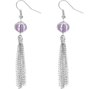 Purple Multi Chain Drop Earrings
