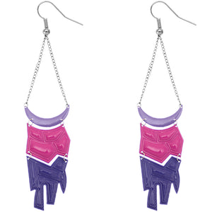Purple Pink Geometric Drop Chain Earrings