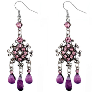 Purple Silver Chandelier Gemstone Earrings