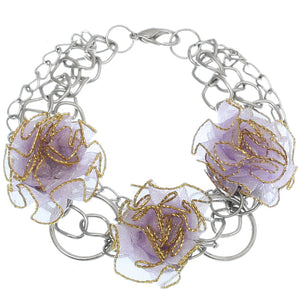 Purple Tulle Flower Chain Bracelet