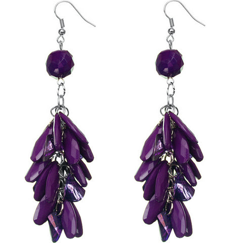 Purple Faceted Beaded Oval Dangle Earrings