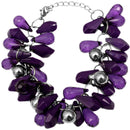 Purple Faceted Beaded Bracelet Earrings Set